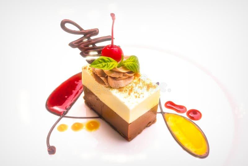 En läcker och härlig skiva av den vita och mörka chokladtorten med coulis för ny frukt royaltyfri bild