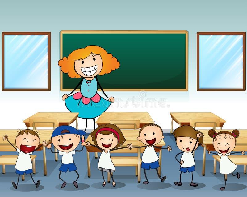 En lärare och hennes studenter royaltyfri illustrationer