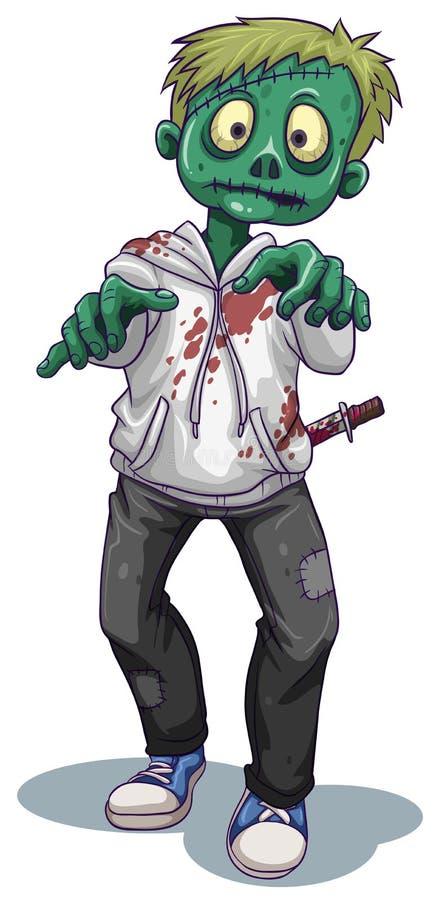 En läskig manlig levande död stock illustrationer