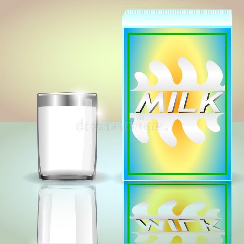 En låda av mjölkar, och ett exponeringsglas av mjölkar stock illustrationer