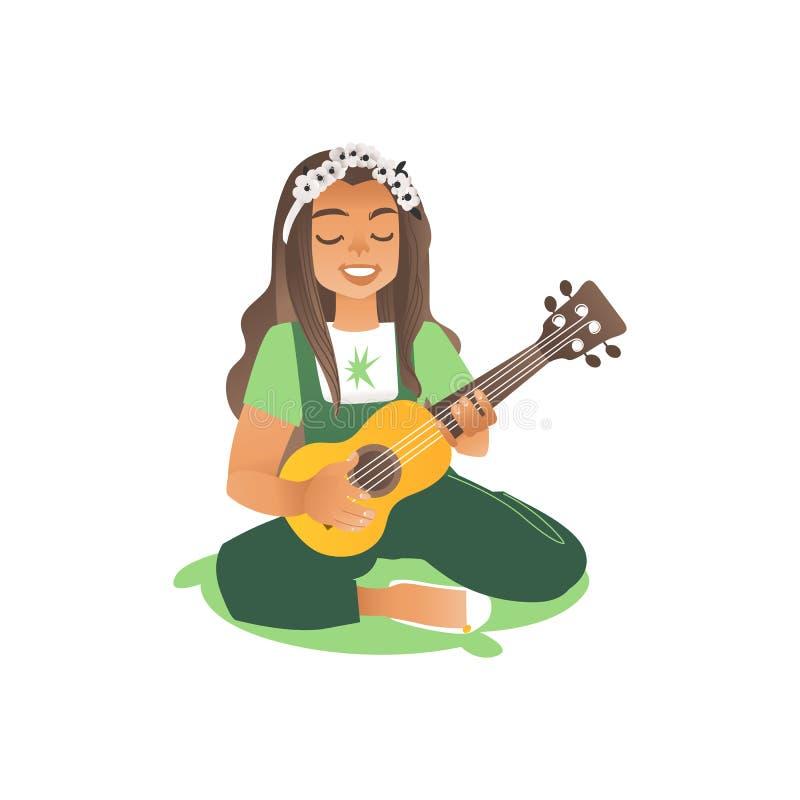 En lång haired flicka eller en ung härlig kvinna sitter på gräset och spelar gitarren stock illustrationer