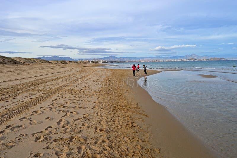 En lång tyst strand fotografering för bildbyråer