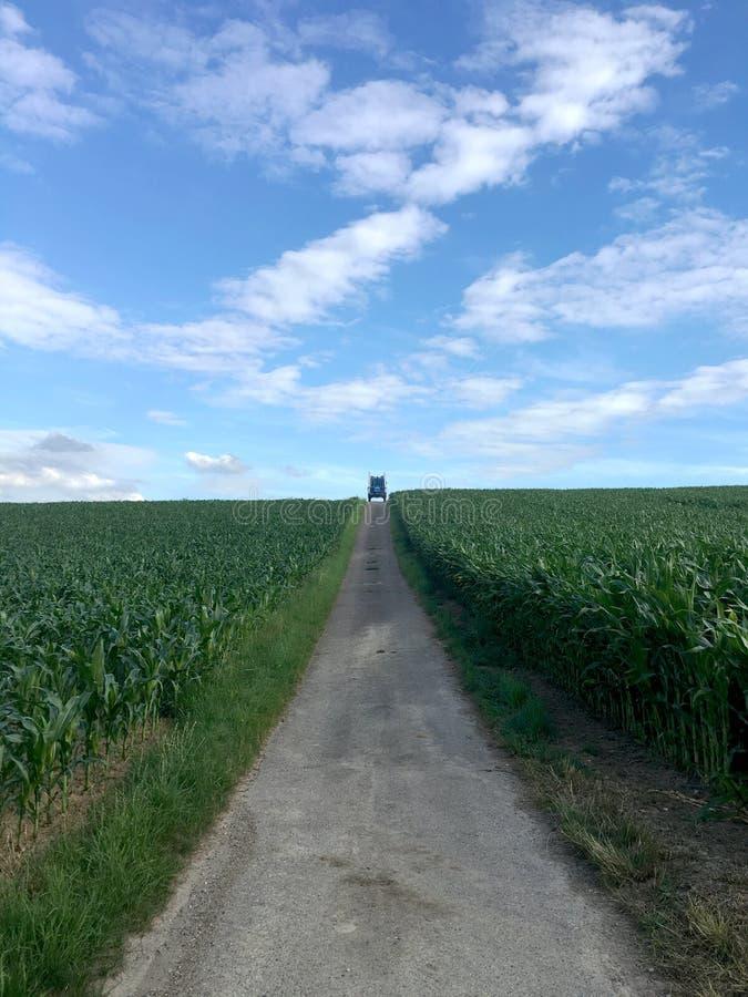 En lång väg i ett landskap av tysk bygd i Baden-Wurrtemberg, med vagnen arkivbild