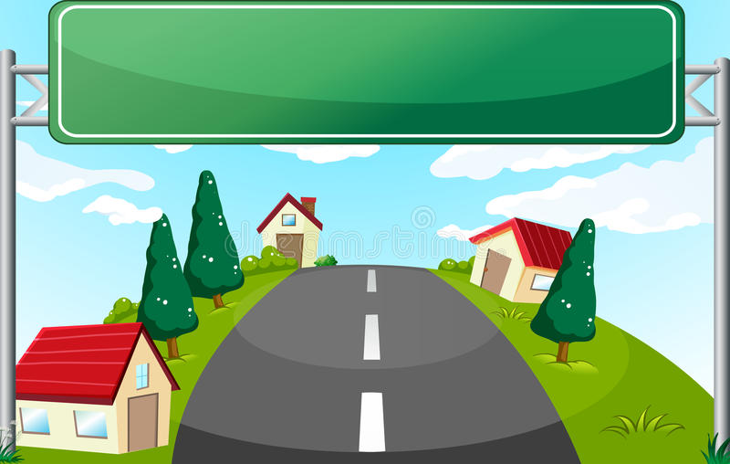 En lång väg och en grön skylt royaltyfri illustrationer
