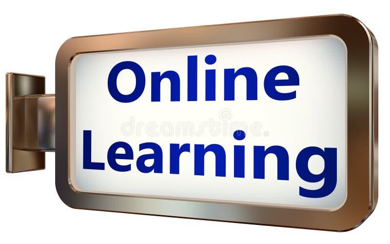 En línea aprendiendo en fondo de la cartelera ilustración del vector