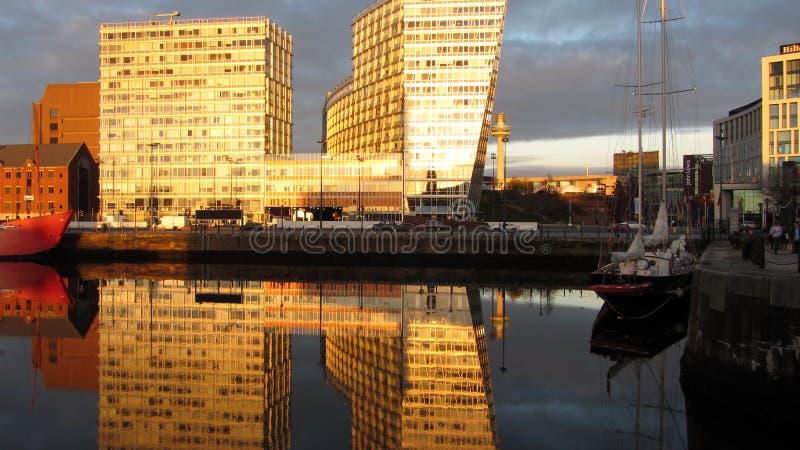 En línea de costa en Liverpool, Inglaterra fotos de archivo libres de regalías