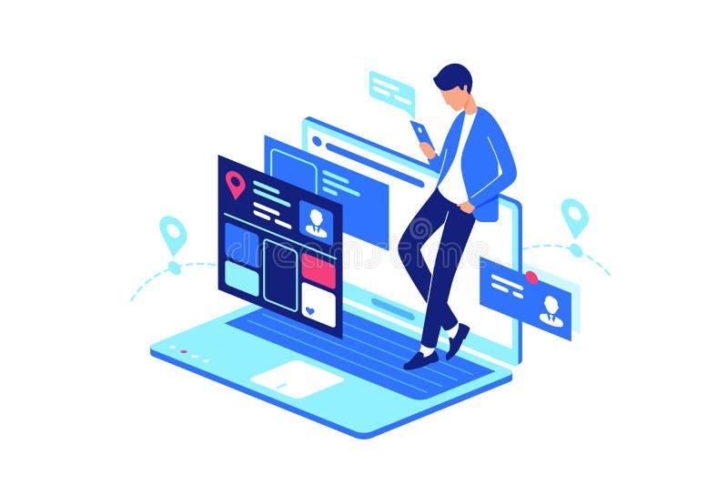 En línea, web, vida cotidiana del servicio de Internet con el ordenador portátil y smartphone, teléfono móvil ilustración del vector