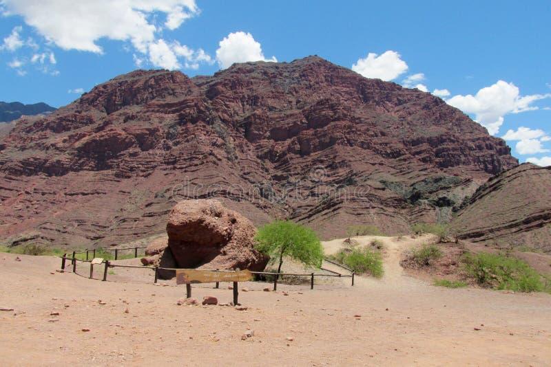 En la Argentina, la roca y x22 de Quebrada de las Conchas de la reserva natural; sapo& x22 del EL; , formado como una rana imagen de archivo