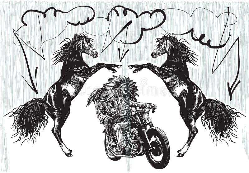 En la bici - los nativos americanos conducen una motocicleta stock de ilustración