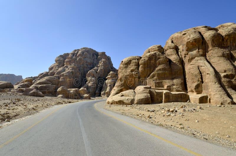 En la carretera a poco Petra, Jordania fotos de archivo libres de regalías