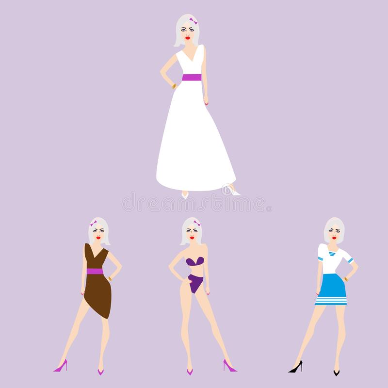 En la figura, cuatro modelos son damas de honor stock de ilustración