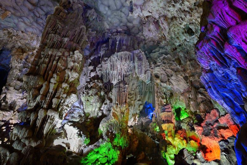 En la gruta de la sorpresa (Hang Sung Sot), bahía de Halong foto de archivo libre de regalías