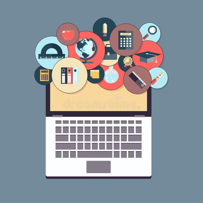En la línea educación y e que aprenden concepto En la línea tutoriales del web libre illustration