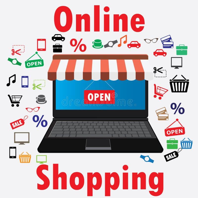 En la línea tienda Venta, ordenador portátil con el toldo libre illustration