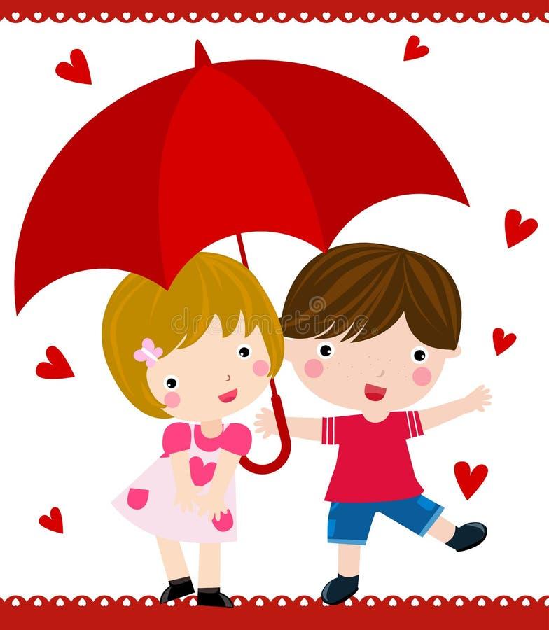 En la lluvia stock de ilustración