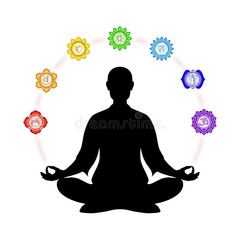 En la meditación con chakras stock de ilustración