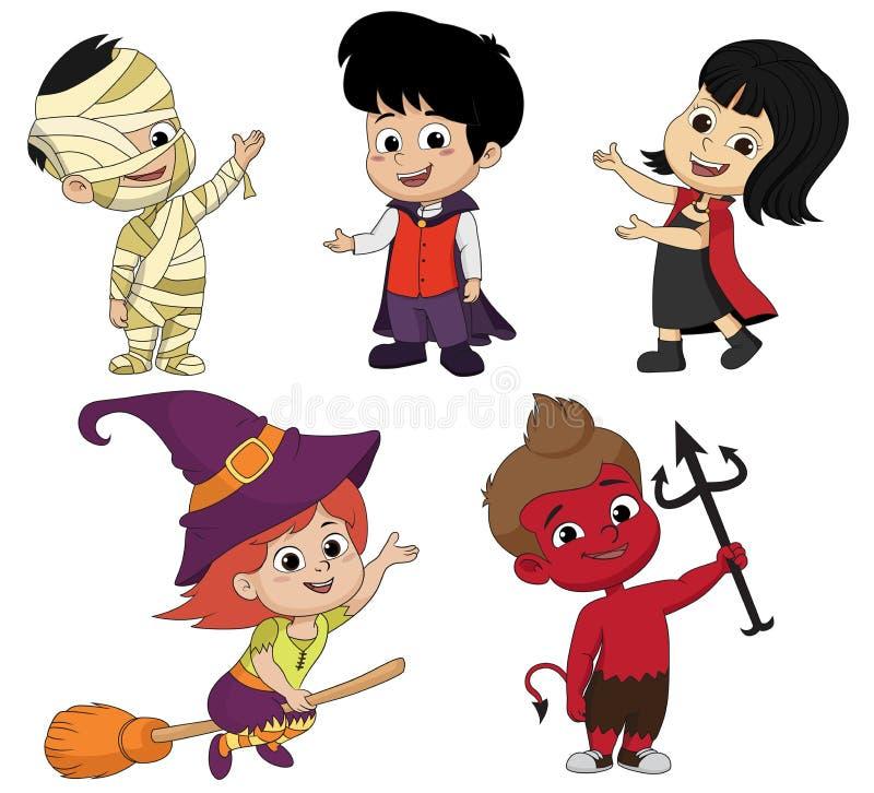 En la noche de Halloween el partido El vestido recolectado niños stock de ilustración