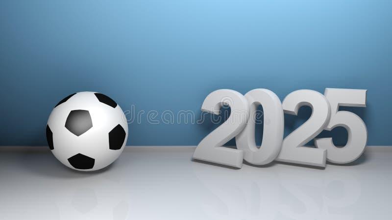 2025 en la pared azul con el balón de fútbol - ejemplo de la representación 3D ilustración del vector