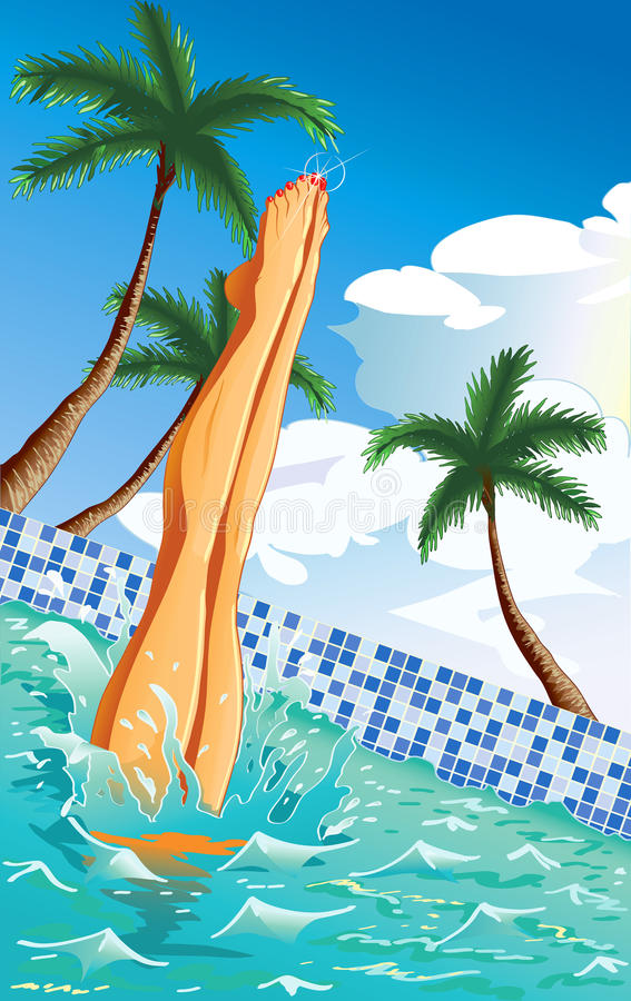 En la piscina ilustración del vector