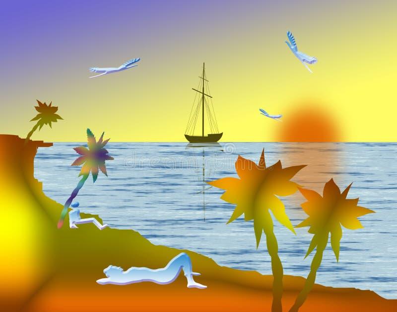 En la playa stock de ilustración