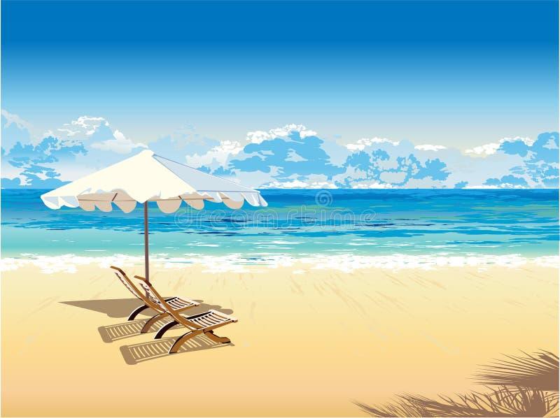 En la playa libre illustration