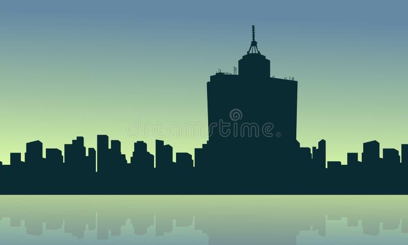 En la salida del sol Ciudad de México con paisaje de la reflexión ilustración del vector