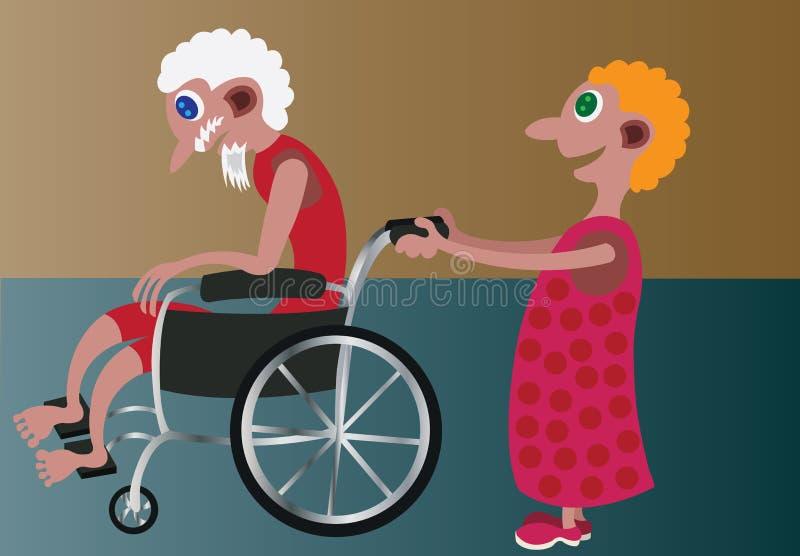 En la silla de ruedas ilustración del vector