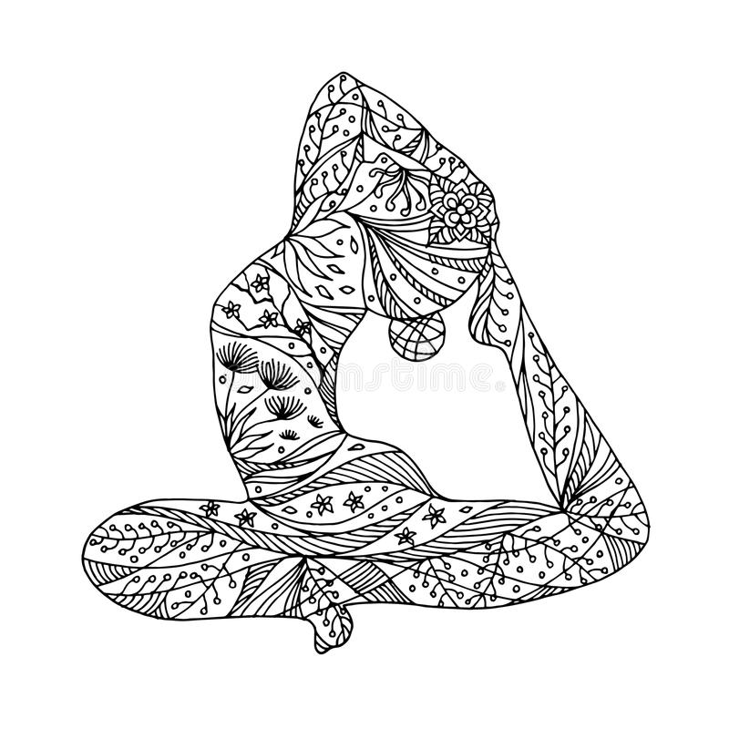 En lagd benen på ryggen konungduva poserar yoga, Eka Pada Rajakapotasana som sitter poserar den drog vektorhanden royaltyfria bilder