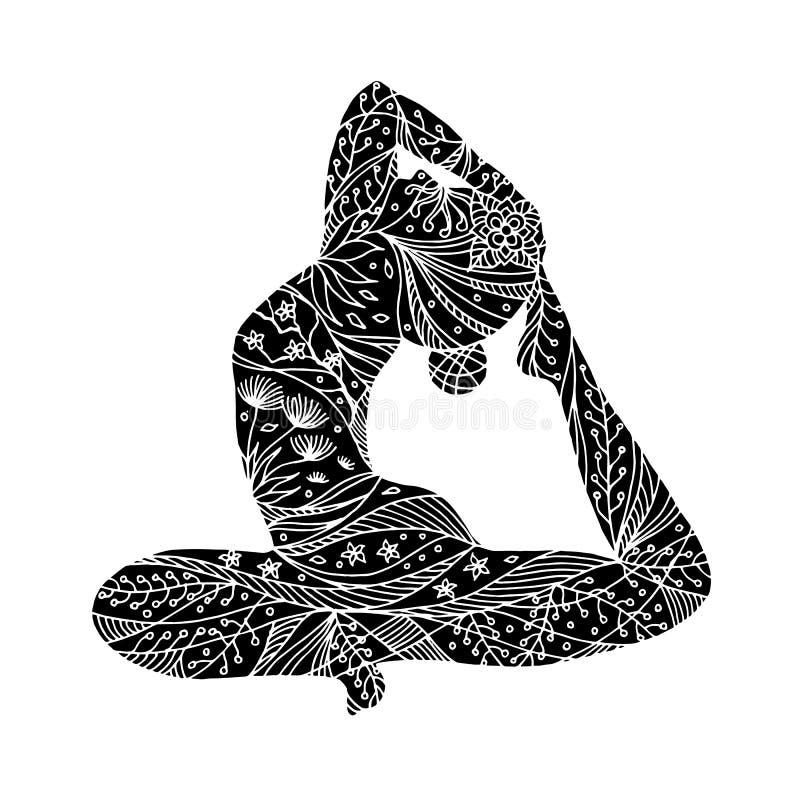En lagd benen på ryggen konungduva poserar yoga, Eka Pada Rajakapotasana som sitter poserar den drog vektorhanden arkivbild