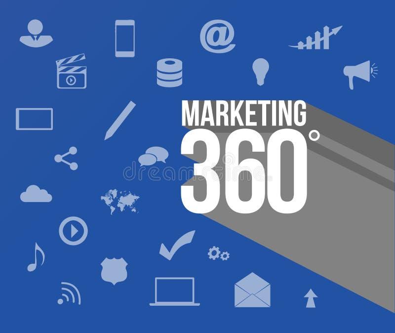 En lançant 360 sur le marché signez plus de les outils marketing illustration de vecteur
