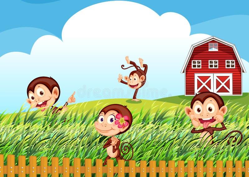 En lantgård med apor vektor illustrationer
