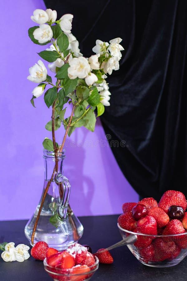 En las ramas blancas de un jazmín del soporte transparente del florero foto de archivo