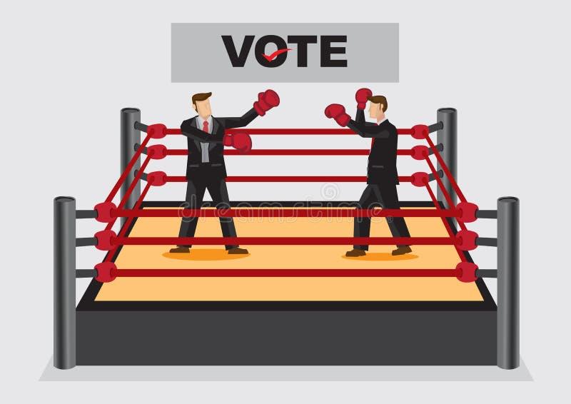 En le luttant pour la bande dessinée de vote de candidats dirigez Illustratio illustration de vecteur