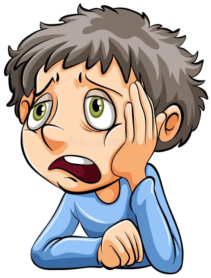 En ledsen pojke stock illustrationer