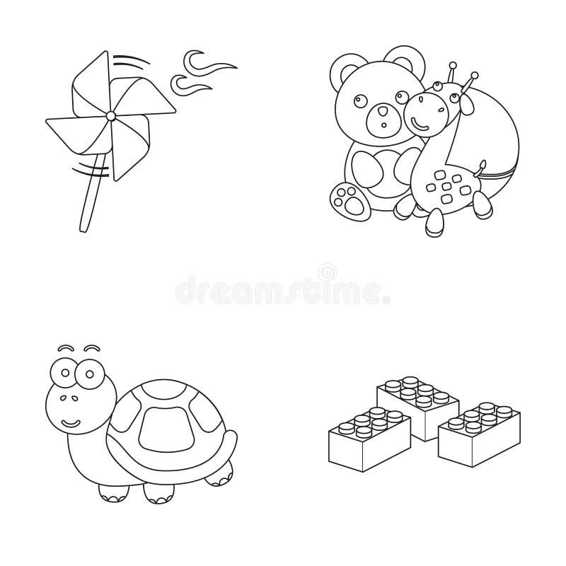 En leksakpropeller, en nallebjörn med en giraff och en färgrik boll, en leksaksköldpadda, en lego, en formgivare för barn toys royaltyfri illustrationer