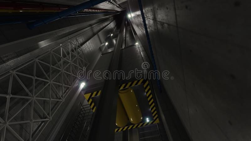 En levant l'ascenseur soulevez la vue à l'intérieur de la technologie d'axe d'ascenseur et du concept industriel photo stock