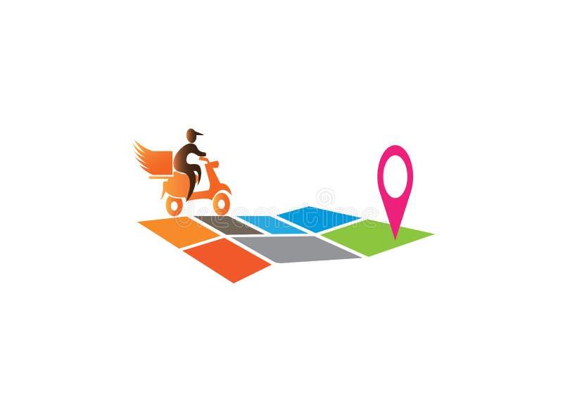En leveransman som rider motoen på översikten för logodesign royaltyfri illustrationer