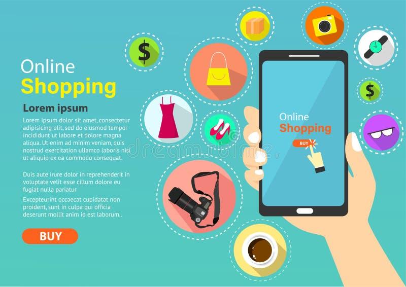 En ligne faisant des emplettes, commode et facile dans votre main illustration stock