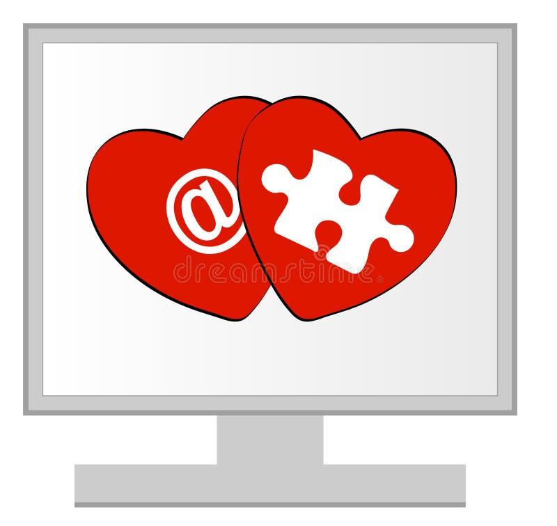 En ligne ou amour de cyber illustration de vecteur