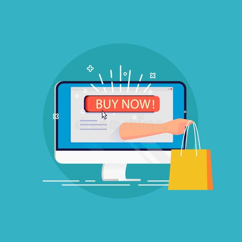 En ligne shoping Concept moderne des achats à domicile pour le Web d illustration de vecteur