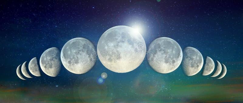 En linje av månar royaltyfria bilder