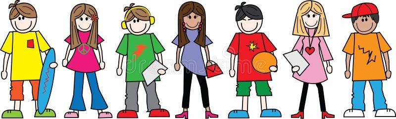 En linje av tonårtonåringar royaltyfri illustrationer