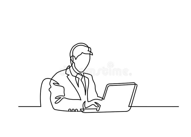 En linje bärbar dator stock illustrationer