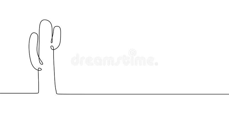 En linje design för lineart för teckningskaktus fortlöpande vektor illustrationer