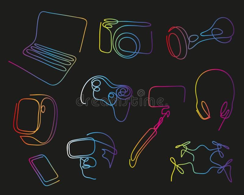 En linje flygsurr Hand tecknad vektorillustration En linje uppsättning av moderna elektroniska grejer för jobb, underhållning och royaltyfri illustrationer