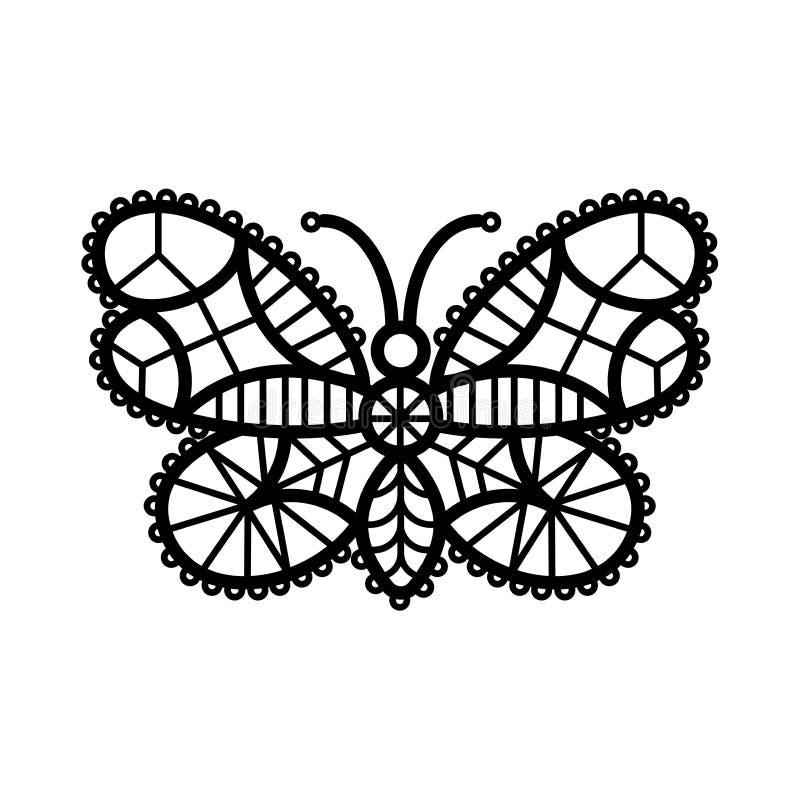 En linje illustration av virkad, spets- mönstrad butterflie stock illustrationer