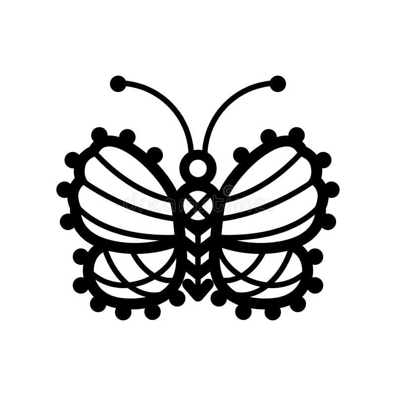 En linje illustration av virkad, spets- mönstrad butterflie royaltyfri illustrationer