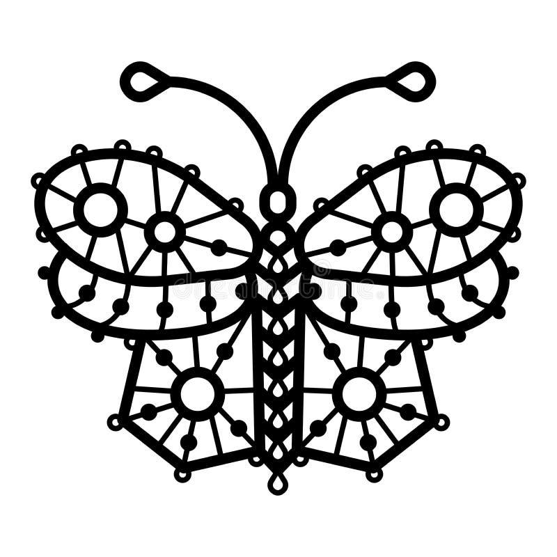 En linje illustration av virkad, spets- mönstrad butterflie vektor illustrationer