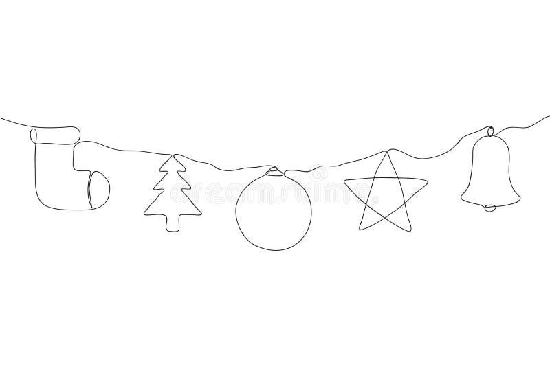 En linje julgarneringuppsättning Fortlöpande linje av prydnader för ferie för nytt år hängande vektor stock illustrationer