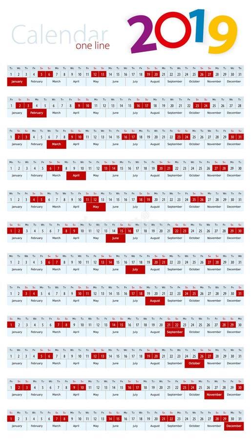 En linje kalender för 2019 år vektor illustrationer
